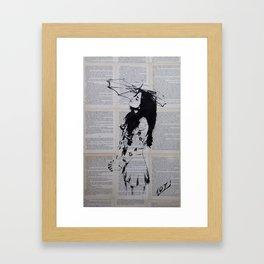 Girl with sunshade Framed Art Print
