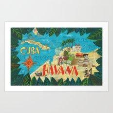 Cuba Map Art Print