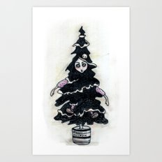 Black Xmas Tree Art Print
