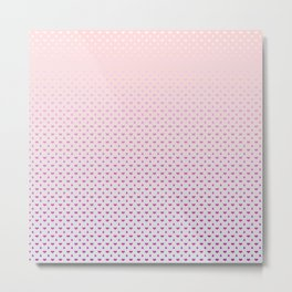 Ombre Red pink white hearts and raindrops on a sunset pink purple background Metal Print