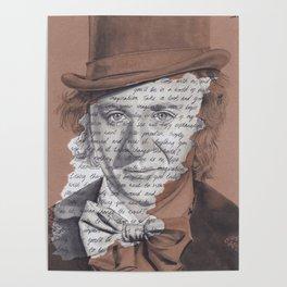 Willy Wonka Portrait with Pure Imagination Lyrics Poster