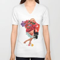solid V-neck T-shirts featuring Solid things 8  by Natural Values