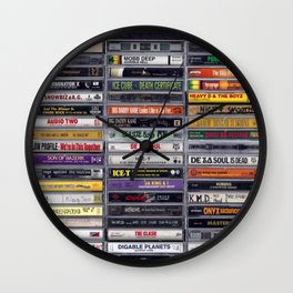 Old 80's and 90's Hip Hop Tapes v2 Wall Clock