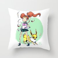 sailor jupiter Throw Pillows featuring Sailor Jupiter by Caity Hall Art