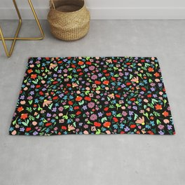 Ditsy Floral Pattern on Black Shabby Chic Flowers Modern Rug