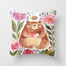 Bear Baring His Heart Floral Bee Illustration Cute Cozy Watercolour Illustration Scandinavian Throw Pillow