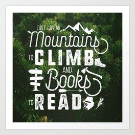 Mountains & Books - Trees Too! Art Print