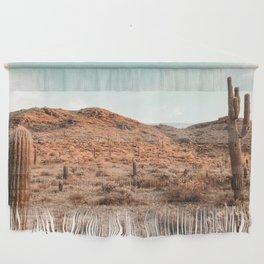 Saguaro Mountain // Vintage Desert Landscape Cactus Photography Teal Blue Sky Southwestern Style Wall Hanging