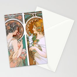 Alphonse Mucha Primrose and Feather Stationery Cards