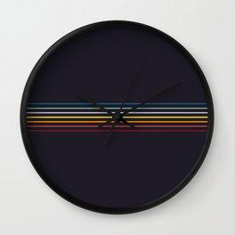 Thin Stripes Retro Colors Wall Clock
