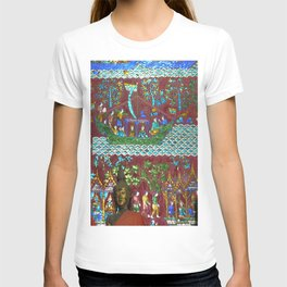Colorful Buddhist Mosaic and Buddha Figurines, Temple, Laos T-shirt