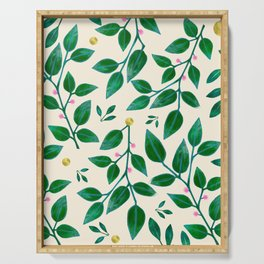Rubber Plant Pattern Serving Tray