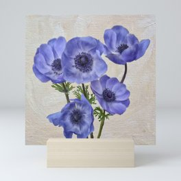 Pretty Periwinkle Poppies Mini Art Print