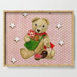 Pink_Hearts_Xmas_Bear_1 Serving Tray