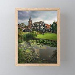Canal View of Pretty Dutch Village, Marken Framed Mini Art Print