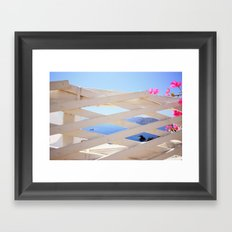 Peeping at Santorini Framed Art Print