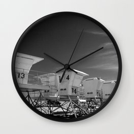 BEACH - California Beach Towers - Monochrome Wall Clock