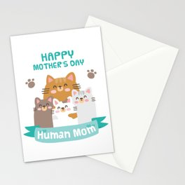 Happy Mothers Day Human Mom Cat Family Stationery Cards