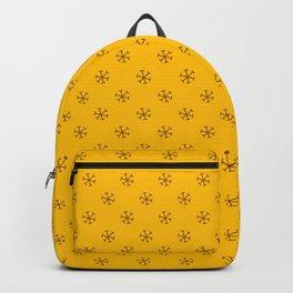 Chocolate Brown on Amber Orange Snowflakes Backpack