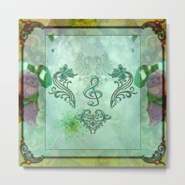 Music, decorative clef with floral elements Metal Print
