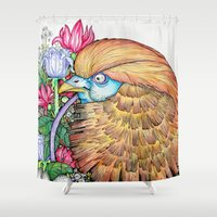 wesley bird Shower Curtains featuring BIRD by • PASXALY •