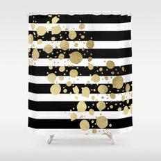 Faux Gold Paint Splatter on Black & White Stripes Shower Curtain