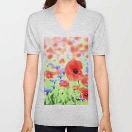 poppies art 004 Unisex V-Neck