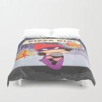 superheros Duvet Covers featuring Pizzagirl by Alapapaju