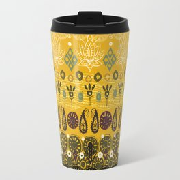 lotus block vintage gold Travel Mug