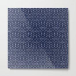 Sashiko stitching indigo pattern 1 Metal Print