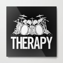 Drummers Therapy Drum Set Cartoon Illustration Metal Print