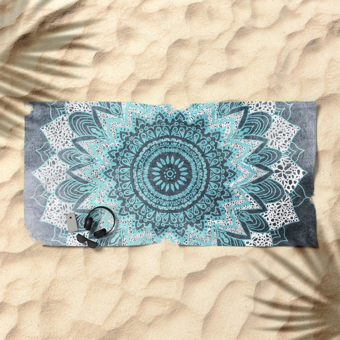 BOHOCHIC MANDALA IN BLUE Beach Towel