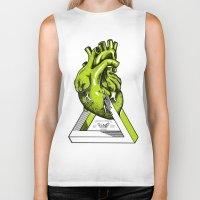 anatomical heart Biker Tanks featuring Green Anatomical heart  by Mia Hawk