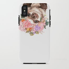 Baby Sloth with Flowers Crown in White iPhone Case