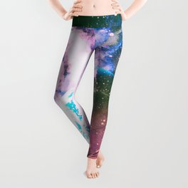 Space Earth Watercolor Leggings