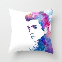 elvis presley Throw Pillows featuring Elvis Presley by WatercolorGirlArt