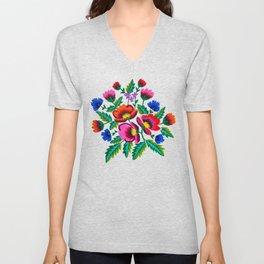Grandmommy Flowering Bouquet - Poppy Centaurea Violet - Green Leaves Blossom Satin Stitch Embroidery Unisex V-Neck