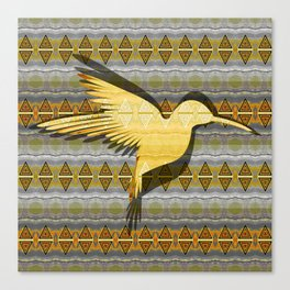 Ancestral Golden Hummingbird Neo Tribal Totem Print Canvas Print