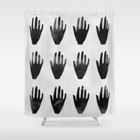 hands Shower Curtains featuring hands by namaki