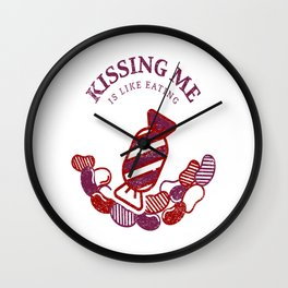 Kissing is Cool Candy Theme Shirt ideas Practice Artwork Wall Clock