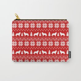 Border Collie Silhouettes Christmas Sweater Pattern Carry-All Pouch
