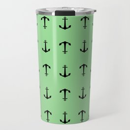Anchors Away - Black anchors pattern on pastel green Travel Mug