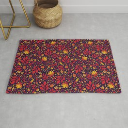 Saturated Red, Yellow & Orange & Dark Navy Blue Floral Pattern Rug