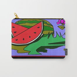 Watermelon with flower and red tile Carry-All Pouch