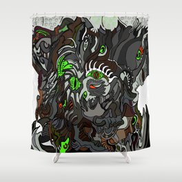 Colored Surreal hallowed tree Shower Curtain