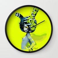 bunny Wall Clocks featuring bunny by el brujo