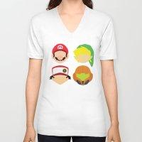 nintendo V-neck T-shirts featuring Nintendo Greats by MoleFole