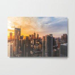Melbourne Skyline Sunrise Metal Print