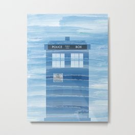 TARDIS Under the Sea - Doctor Who Digital Watercolor Metal Print