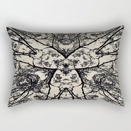 Black Flora No 1 Rectangular Pillow